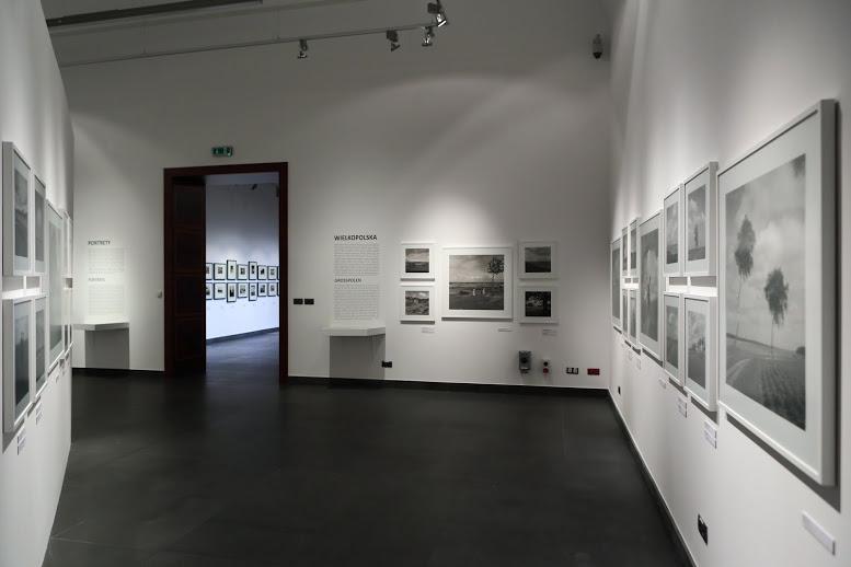 Ujęcie wystawy z głębi głównej sali wystawowej w stronę przedsionka. Na białych ścianach wiszą czarno-białe fotografie w białych ramach. Po lewej i prawej stronie otwartego, szerokiego i dużego przejścia do przedsionka umieszczone są w prostokątnym bloku czarne, wylepione na ścianie teksty będące wprowadzeniem do poszczególnych części podzielonych tematycznie fotografii. Pod tekstem do ściany zamocowane są przeszklone gabloty stolikowe z umieszczonymi materiałami archiwalnymi takimi jak oryginalne stare książki oraz pocztówki, gdzie publikowane były fotografie Stewnera. W głębi przedsionka, widocznego przez przejście, na białej ścianie w dwóch rzędach, jeden nad drugim, wiszą oryginalne, lekko pożółknięte czarno-białe fotografie w czarnych ramach.