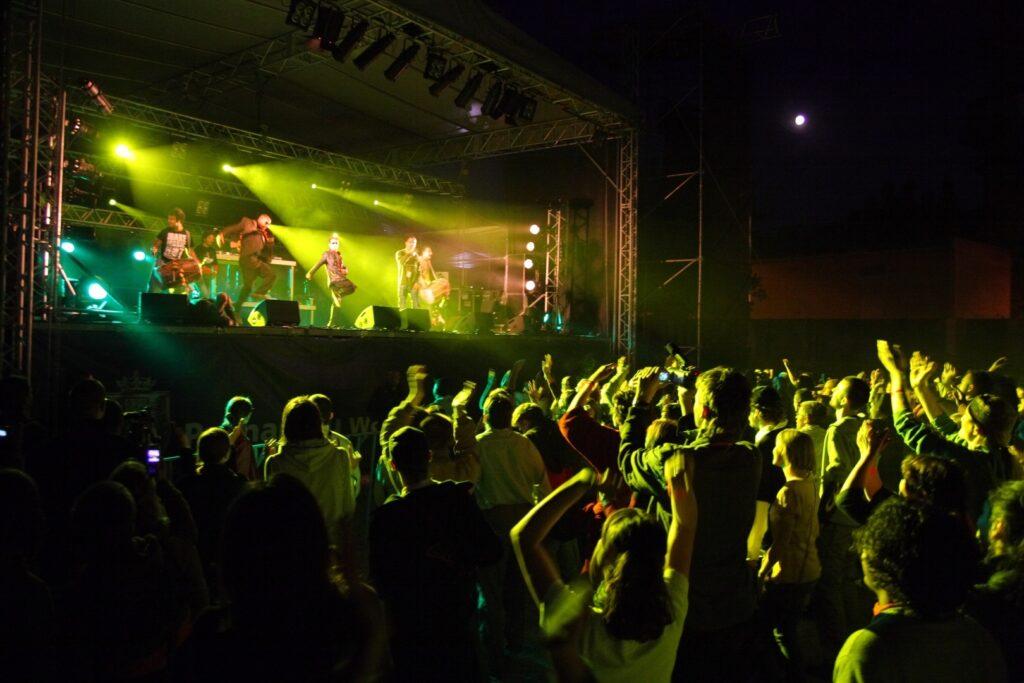 Fotografia zrobiona podczas jednego z nocnych koncertów plenerowych przedstawia rozentuzjazmowaną, tańczącą publiczność tuż pod sceną. Zarówno scena, jak i uczestnicy koncertu zalani są intensywnym, żółto-zielonym światłem. Na scenie też nie brak energii. Choć detale nie są wyraźne, muzycy ewidentnie dobrze się bawią. Otoczenie sceny spowija mrok, jedynie daleki księżyc rysuje się na niebie jasną plamą.