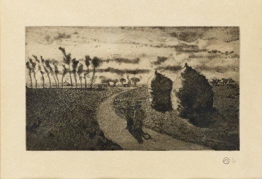 Grafika przedstawia krajobraz rolniczy: z lewej strony widzimy pole oraz w oddali kilka smukłych, wysokich drzew, miedzy nimi wijącą się drogę, po której idzie dwoje ludzi, po prawej zaś dwa duże stogi siana. Niebo przykryte jest chmurami. Czarno-biała odbitka wykonana została na papierze w kolorze beżowo-żółtym.