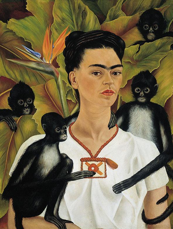 Na obrazie widać pół-profil Fridy Kahlo z małpkami. Artystka ma na sobie białą tunikę z krótkim rękawem i brązową ozdobą wokół szyi. W misternie uplecionym czarnym koku Fridy widzimy utkany z nici wełnianych biret profesorski. Kobietę otaczają cztery małe, czarno-białe małpki, które symbolizują jej uczniów. Tłem obrazu są duże, zielone liście oraz piękny, pomarańczowy, egzotyczny kwiat, który znajduje się po lewej stronie.