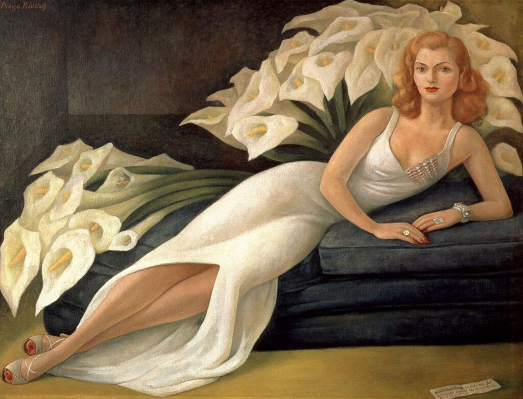 Obraz przedstawia Nataszę Gelman, która była znaną kolekcjonerką obrazów Fridy Kahlo i Diego Rivery, w pozycji półleżącej, podpierającą się łokciem na granatowej kanapie. Kobieta ma długie, rude włosy i ubrana jest w białą, elegancką suknię, spływającą do podłogi. Na dłoniach widoczne są dwa duże pierścionki z brylantami oraz bransoletka. Jej paznokcie są pomalowane na kolor czerwony. Na drugim planie na materacach leżą olbrzymie duże bukiety kwiatów - kalii.