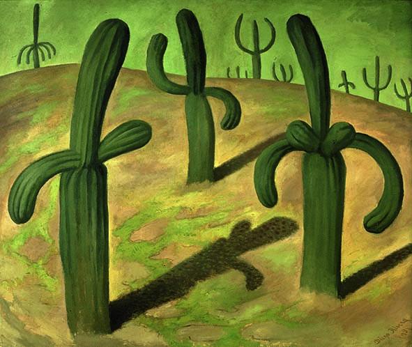 Na obrazie widzimy meksykański pejzaż z kaktusami. Na pierwszym planie namalowane zostały trzy kaktusy i ich cienie, z których jeden, znajdujący się po prawej stronie, przypomina postać kobiecą, a  pozostałe dwa, znajdujące się po lewej stronie oraz trochę z tyłu, po środku - postaci męskie. Na wzniesieniu na horyzoncie wyłania się jeszcze kilka innych kaktusów o ludzkich kształtach. Całość jest utrzymana w zielonej tonacji.