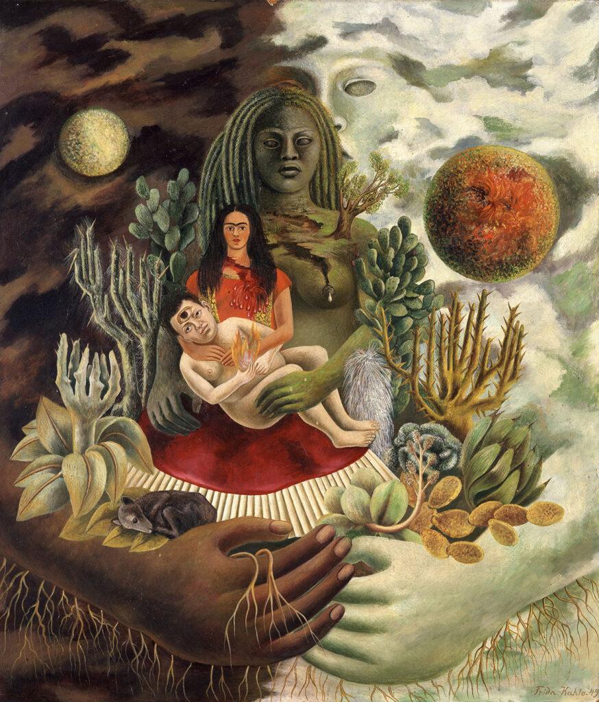 W centrum obrazu widać Fridę w czerwonej sukni trzymającą na rękach nagiego Diego. U jej stóp leży mały pies. Diego ma na czole trzecie oko. Wszystkie postaci obejmuje symboliczny posąg Matki Ziemi. Wokół nich rośnie dużo meksykańskich roślin, głównie kaktusów. Po lewej stronie utrzymanej w ciemnych, brązowych kolorach widzimy księżyc, a po prawej, jasnej stronie pomarańczowe słońce.