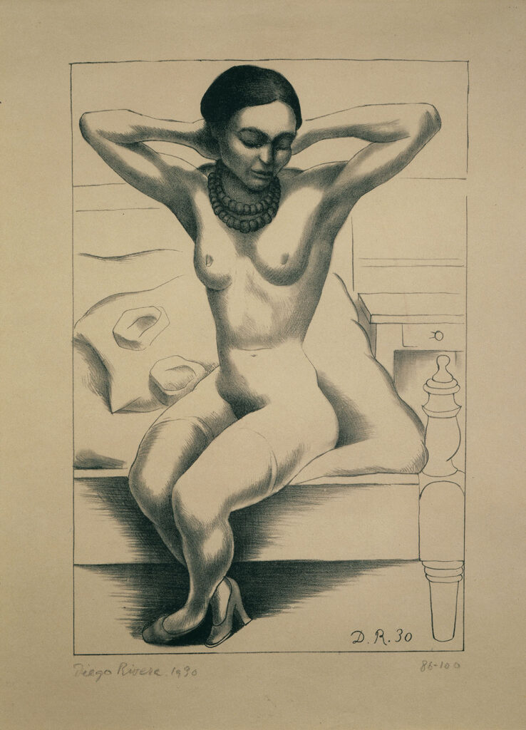 Na litografii widać akt siedzącej na łóżku Fridy Kahlo w butach na wysokich obcasach. Kobieta ma ramiona uniesione do góry, a jej dłonie są splecione za szyją. Głowę pochyla w dół, a jej oczy są zamknięte. Jedyną ozdobą Fridy są dwa duże sznury korali.