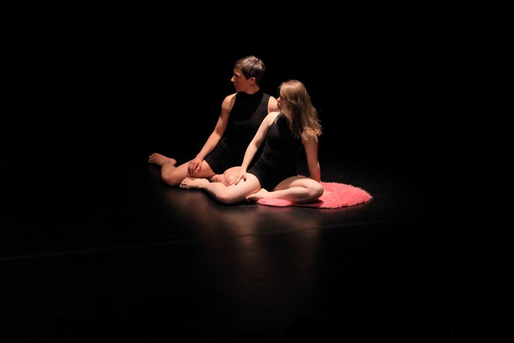 Dwie kobiety siedzą na skraju małego, różowego, pluszowego dywanika. Oświetlone są przyjemnym, jasnym, punkowym światłem z góry. Obie ubrane są tak samo: w czarne, krótkie spodenki i koszulki na ramiączkach w tym samym kolorze. Obie przybrały też tę samą pozę: siedzą jakby po turecku z wyciągniętą w bok prawą nogą. Ich głowy zwrócone są w prawo. Wokół panuje nieprzenikniona ciemność.