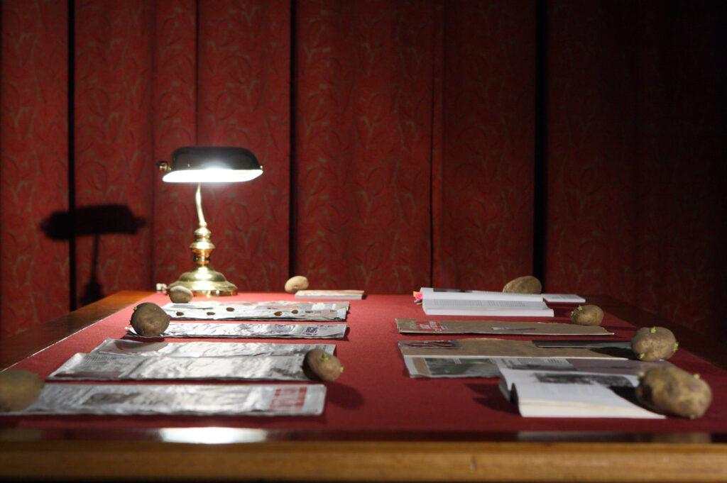 Na zdjęciu widzimy zabytkowy, drewniany stół pokryty ciemnoczerwonym suknem, a na nim instalację artystyczną składająca się z leżących gazet i książek, których strony przytrzymywane są przez ziemniaki. W prawym rogu stołu stoi mała, zielona lampka gabinetowa oświetlająca wydawnictwa, tył zdjęcia stanowi ciemnoczerwona kotara okienna.