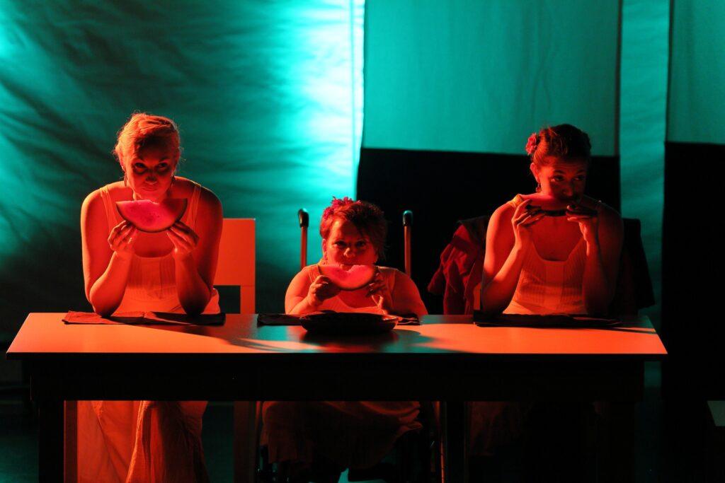 Trzy kobiety otulone miękkim, czerwonym światłem siedzą obok siebie przy prostokątnym stole. Wszystkie ubrane są w proste, jasne sukienki na ramiączkach. Siedząca pośrodku na wózku artystka jest znacznie niższa od koleżanek. Każda z aktorek trzyma oburącz półokrągły plaster arbuza. W tle znajdują się pasy jasnego materiału, które pod wpływem światła przybrały głęboki, morski kolor.