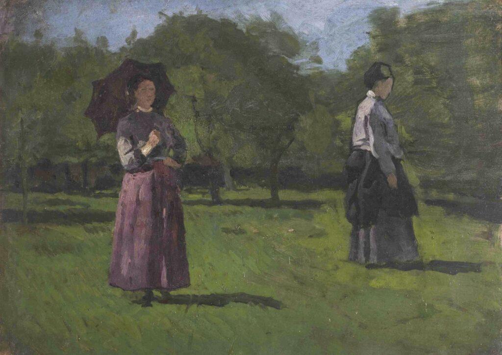 Obraz przedstawia dwie kobiety w sadzie. Obydwie stoją tyłem do słońca, na co również wskazuje układ cieni na soczyście zielonej trawie. Kobiety ubrane są w bluzki i długie, marszczone spódnice: bordową i szarą. Postać z lewej strony osłania się czarną parasolką, druga ma założony na głowie ciemny czepek. Tłem pracy są liczne, mocno zazielenione drzewa w sadzie oraz fragment błękitnego nieba.