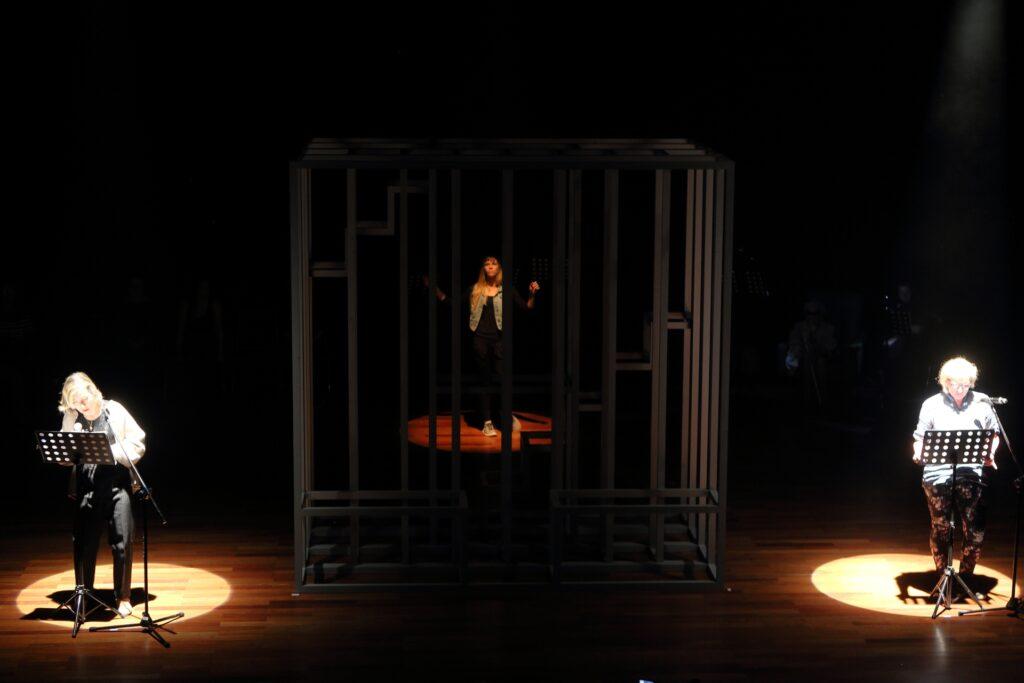 Zdjęcie przedstawia scenę spektaklu, w którym biorą udział trzy kobiety. Dwie z nich ustawione są symetrycznie, na dwóch przeciwległych stronach fotografii. Pada na nie skierowane z góry światło reflektorów, tworzące jasne kręgi na ciemnej podłodze. Oprócz sylwetek, w wyznaczonych światłem reflektorów przestrzeniach, widzimy czarne pulpity do nut i mikrofony na statywach. Obie kobiety mówią jednocześnie, mają jasne włosy i okulary na twarzach. W centrum dominuje sporych rozmiarów prostopadłościan zbudowany z drewnianych kantówek, pomalowanych na stalowy kolor. Za konstrukcją, w oddali, dostrzegamy trzecią kobietę. Młoda dziewczyna, o długich blond włosach, ubrana jest w dżinsową kurtkę, czarny t-shirt i czarne spodnie oraz jasne sportowe buty. Uchwycona została w trakcie tańca – jej ręce uniesione są w górę, a lewa stopa odrywa się od parkietu.