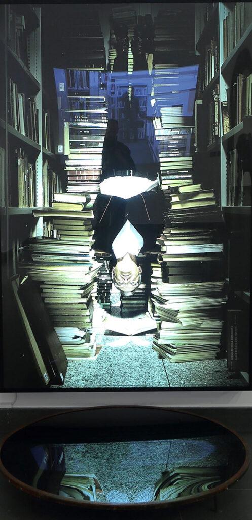 Zdjęcie ukazuje instalację artystyczną składającą się z dużej, podświetlonej fotografii oraz leżącego na podłodze okrągłego lustra, w którym się ona odbija. Treścią pracy jest pomieszczenie wypełnione w całości książkami. Pośrodku zdjęcia, między stertami książek, widzimy odwróconego do góry nogami, wiszącego mężczyznę.