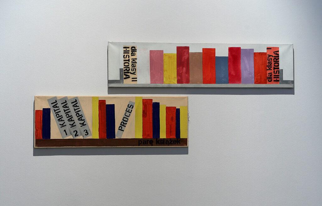 Fotografia przedstawia dwa obrazy w kształcie leżących, podłużnych prostopadłościanów zawieszonych asymetrycznie jeden pod drugim. Artysta namalował na nich farbami akrylowymi półki z kolorowymi książkami. Tylko kilka z nich opatrzył tytułami. Płótna z obrazami wiszą na białej ścianie.