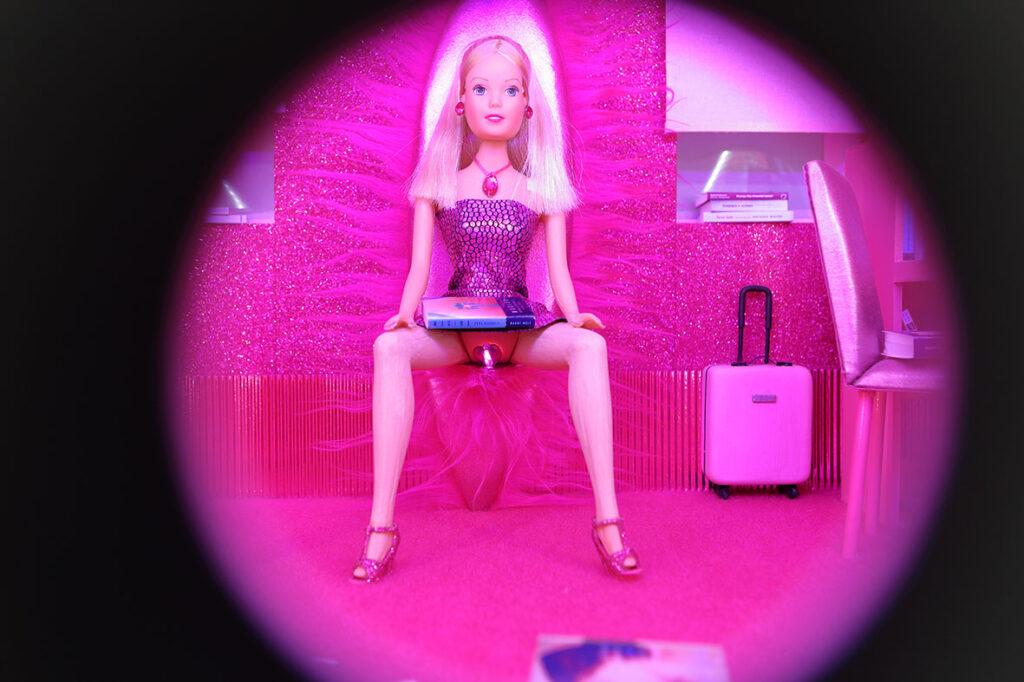 Zdjęcie ukazuje różowy pokój lalki podobnej do Barbie, który widzimy albo przez wizjer w drzwiach, albo przez lunetę. Możemy dostrzec również różowe krzesło, walizkę, półki z książkami, kaloryfer oraz samą lalkę, siedzącą z rozstawionymi nogami na czymś w rodzaju włochatego różowego tronu. Na jej kolanach leży książka.