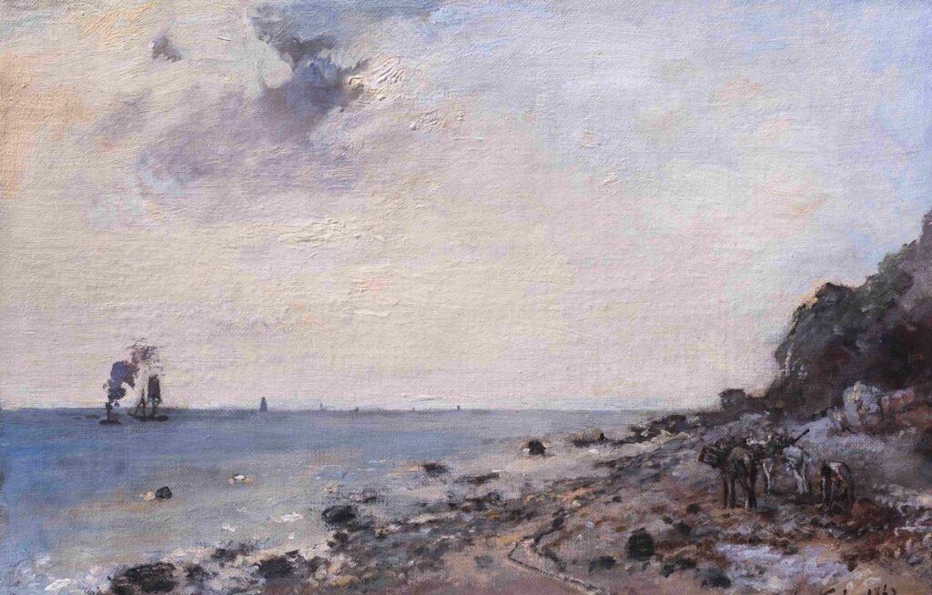 Obraz przedstawia pejzaż morski. Na pierwszym planie, na kamienisto-piaszczystej plaży, z prawej strony widać postać i kilka objuczonych sakwami koni. Z lewej namalowana została niebieska tafla wody, po której w oddali płyną dwa statki. Z komina jednego z nich wydobywa się ciemny, szary dym. Niebo jest rozbielone, delikatnie różowe, z jedną większą, szarą chmurą w lewym, górnym rogu obrazu.