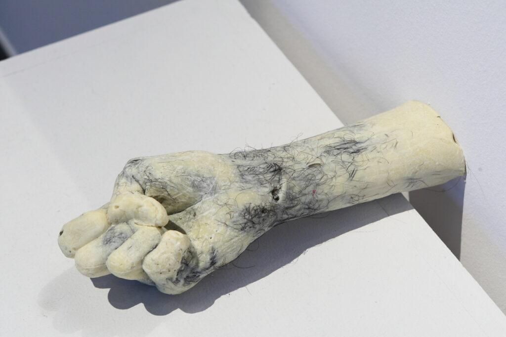 Zdjęcie przedstawia odlew przedramienia z zaciśniętą w pięść dłonią. Wykonany jest z białej czekolady, w który wtopione są dodatkowo czarne włosy. Rzeźba położona jest na białym postumencie, którego widzimy tylko górna płaszczyznę. Styka się on z białą ścianą.