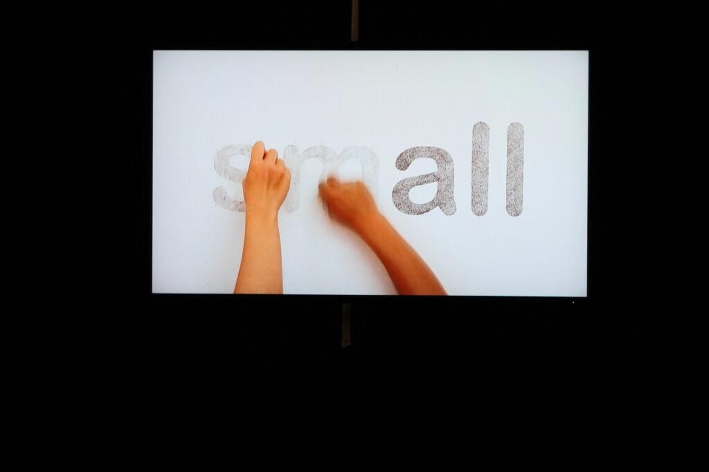 """Na zdjęciu widzimy kadr z instalacji wideo: na czarnym tle znajduje się biała kartka z angielskim napisem """"small"""", czyli """"mały"""". Dwie dłonie próbują wymazać literę """"s"""" oraz """"m"""", przez co powstaje drugi napis """"all"""", czyli """"wszyscy""""."""