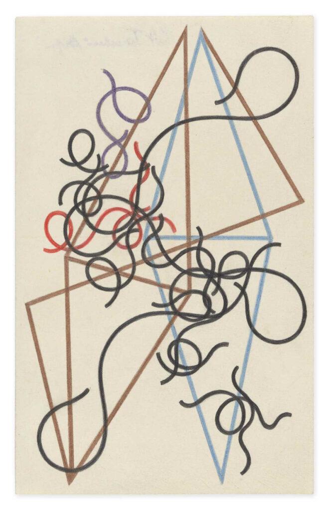 Na kremowym papierze widzimy kolorowe, trójkątne, cienkie linie proste i faliste, które tworzą abstrakcyjną kompozycję. Kilka z nich przypomina kształtem trójkąty, reszta jakby skłębione nici.