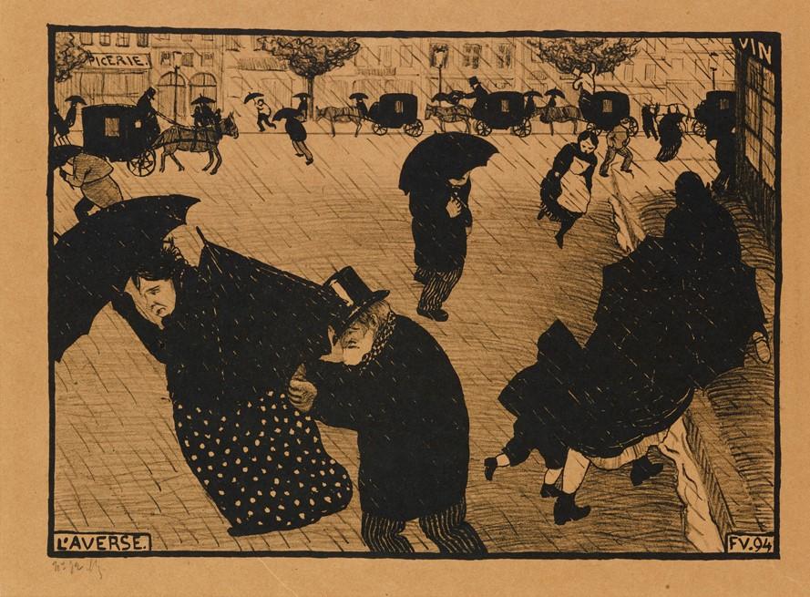 Litografia przedstawia francuską ulicę z końca XIX wieku podczas silnej ulewy. Na pierwszym i drugim planie widać przebiegających i uciekających przed deszczem ludzi: kobiety, mężczyzn oraz dzieci. Większość z nich ma parasole. Trzeci plan stanowią stojące lub przejeżdżające ulicą karoce z końmi, trzy drzewa oraz domy i sklepy. Tło litografii utrzymane jest w ciepłych, brązowych kolorach, jednak wszystkie postaci są czarno-białe. Na całej pracy zarysowany jest również deszcz w postaci cienkich, ale licznych kreseczek.
