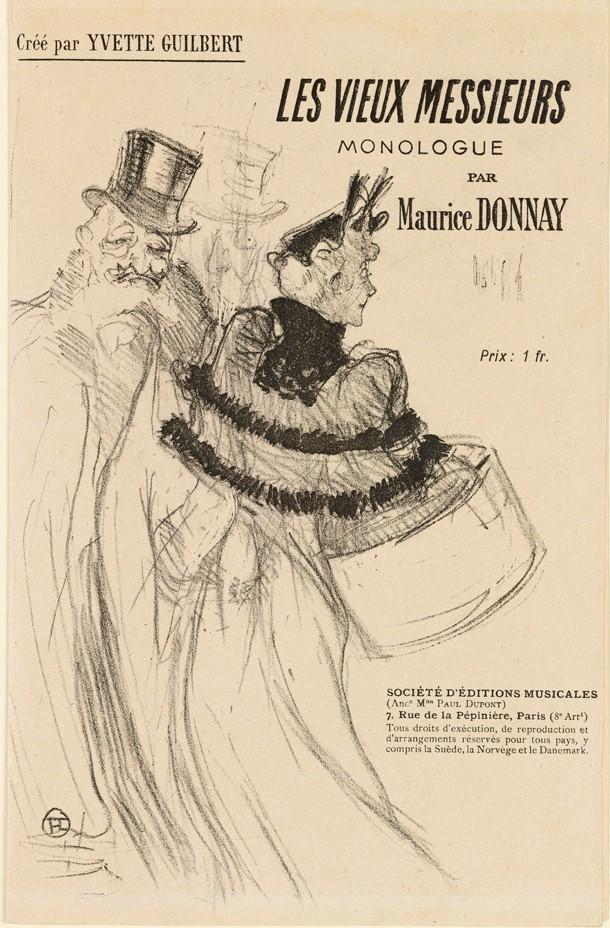 """Litografia przedstawia dwie osoby: kobietę ubraną w długą suknię, krótką narzutkę na ramionach,  mały kapelusz ozdobiony piórami, trzymającą duże pudło w kształcie walca oraz starszego mężczyznę, który nosi na sobie płaszcz obszywany futrem. Na głowie założony ma cylinder. W górnej części litografii widzimy kilka napisów w języku francuskim: tytuł """"Starsi Panowie"""", słowo monolog , dwa nazwiska – francuskiej aktorki Yvette Guilbert oraz autora piosenek i dramaturga Maurice Donnay, w dolnej zaś części druku, po prawej stronie znajduje się informacja o miejscu i adresie wystawienia sztuki."""