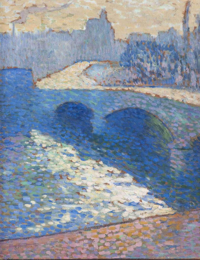 Obraz przedstawia rzekę Sekwanę w Rouen o zmierzchu. Pejzaż namalowany został z prawego brzegu i ukazuje rzekę, przez którą przerzucony jest kamienny most oraz, widoczny w tle, konturowy zarys miasta po drugiej stronie rzeki. Kolorystyka obrazu utrzymana jest w chłodnych kolorach błękitów i fioletów, jedynie fragment brzegu u dołu obrazu namalowany został kolorami różu, pomarańczy i fioletów. Obraz namalowany jest impresyjnie i wrażeniowo. Wszystkie elementy kompozycji namalowane zostały delikatnymi uderzeniami pędzla, układającymi się w całość niczym mozaika. Ważniejszy od szczegółów jest tutaj nastrój zapadającego chłodnego zmierzchu nad płynącą rzeką, oddany zarówno sposobem malowania, jak i kolorystyką.