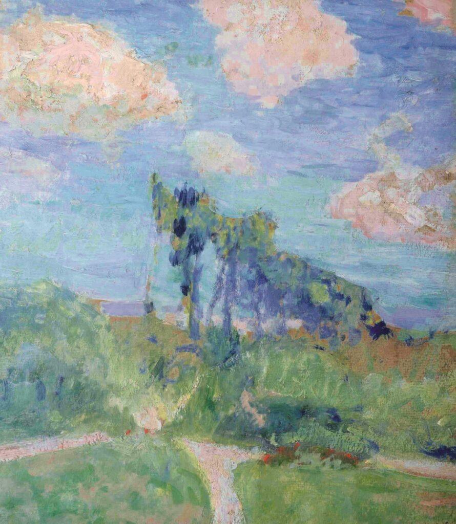 Obraz przedstawia pejzaż z kilkoma drzewami pośrodku zielonych łąk. Linia horyzontu jest niska, ustępując miejsca błękitnemu niebu z pierzastymi, białymi obłokami. Kolorystyka obrazu utrzymana jest w chłodnych tonach zieleni, błękitów i fioletów. Scena namalowana została mocnymi, impresyjnymi uderzeniami pędzla i odnosi się wrażenie, jakby była złożona z plam barwnych, tworzących kształty wszystkich elementów kompozycji.