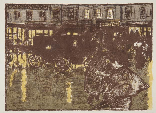 Litografia przedstawia ulicę w deszczu wieczorem. Na pierwszym planie, po prawej stronie widzimy kobietę z parasolką, która zmaga się z ulewą i wiatrem. Tuż za nią przejeżdżają karoce oraz widać zarysy ludzi przebiegających przez ulicę. Trzeci plan litografii stanowią domy i witryny sklepowe. Większość z nich ma pozapalane światła, które rozświetlają również mokry asfalt. Cała praca utrzymana jest w brązowo-żółtej kolorystyce.