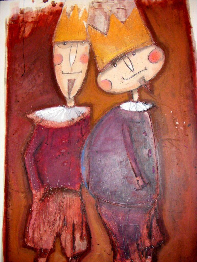 Obraz przedstawiający dwóch królów, prawdopodobnie drewnianych. Praca może być ilustracją do bajki.