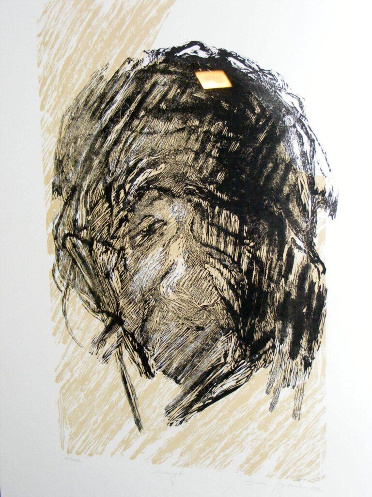 Praca wykonana w technice graficznej, w dwóch kolorach: czarny i beżowy. Przedstawia prawdopodobnie tylną część głowy.