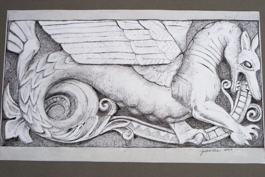 Rysunek motywu elewacji Zamku przedstawiającego smoka.