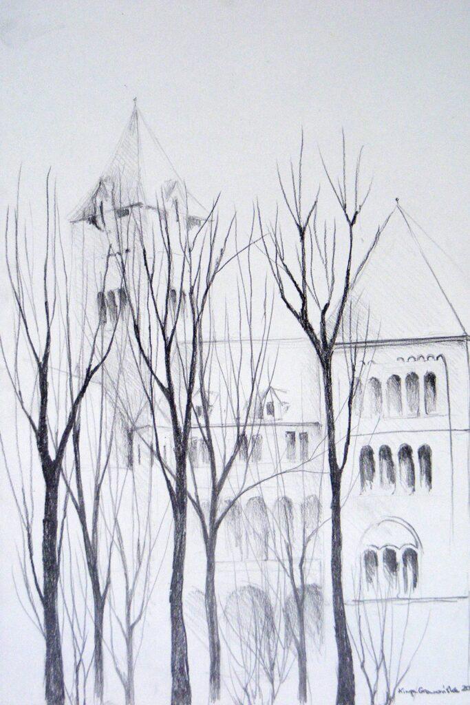 Rysunek przedstawiający północną, przysłoniętą drzewami, elewację Zamku