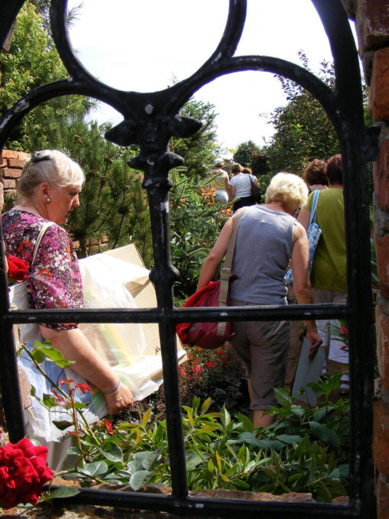 Ogród botaniczny. Uczestnicy pracowni idą ścieżką na warsztaty. Zdjęcie wykonane przez metalową ramę okienną widoczną na pierwszym planie.