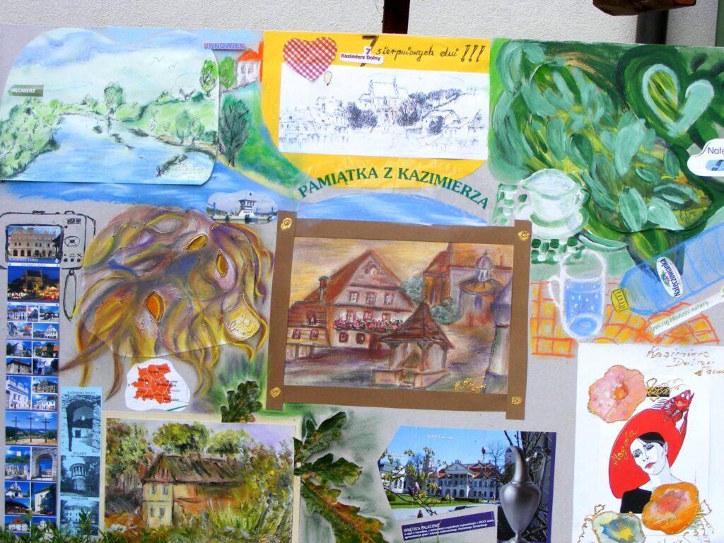 Plansza będąca pamiątką z Kazimierza, na której są namalowane lub przyklejone najciekawsze miejsca w mieście i okolicy: budowle, pejzaże, roślinność i rynek.