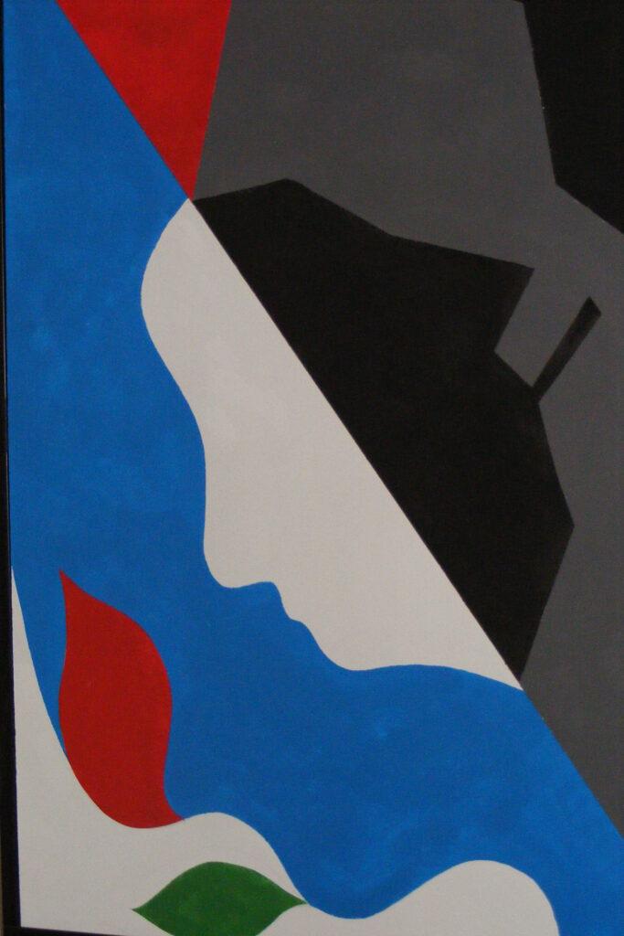 Abstrakcyjna kompozycja w pięciu kolorach: białym, czarnym, szarym, czerwonym i niebieskim.