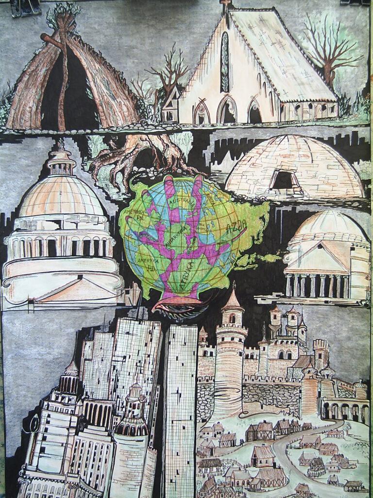 Kolaż budowli z różnych miast i zakątków świata z globusem pośrodku.