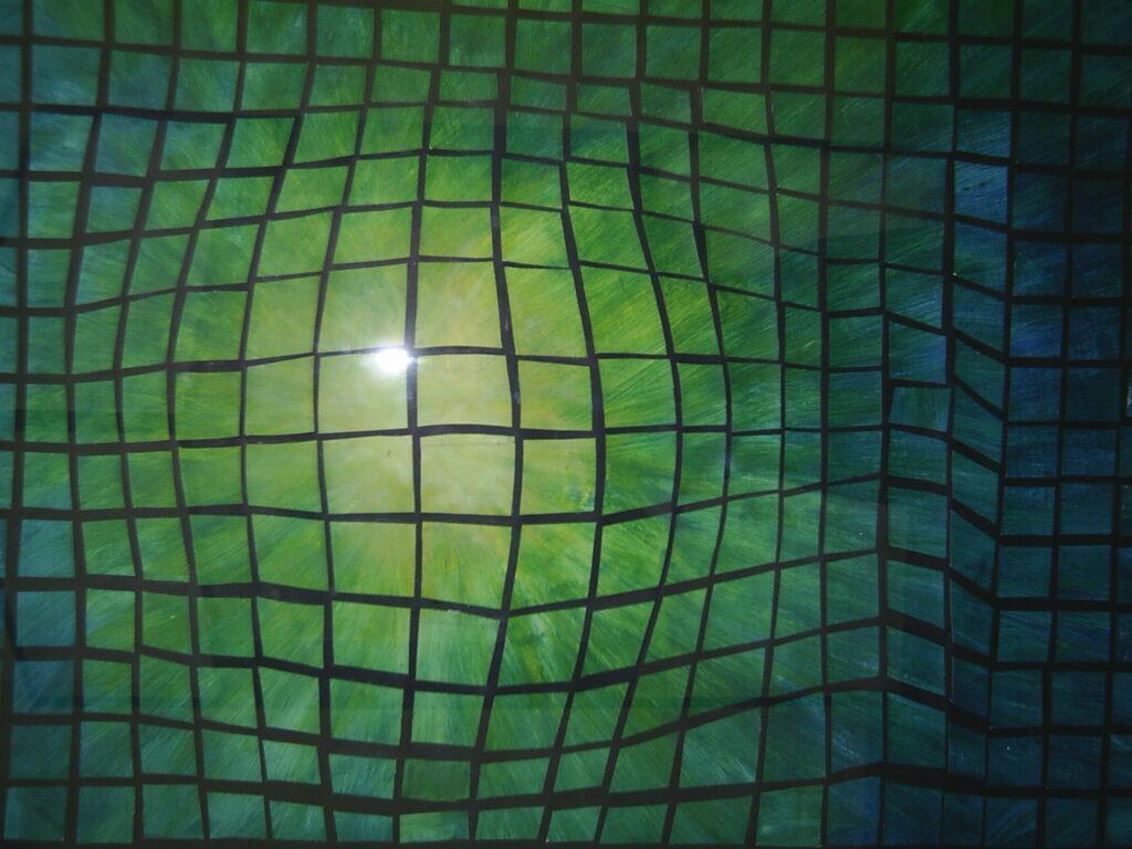 Płaska praca – na czarnym tle znajdują się małe, zielone czworokąty, tworzące złudzenie wypukłości w środkowej części obrazu.