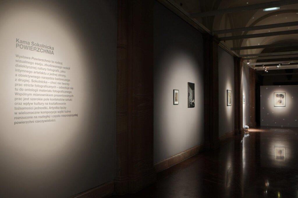 Zdjęcie przedstawia ciemne wnętrze galerii, ściany mają szary kolor. Punktowe światło wydobywa znajdujący się po lewej stronie czarny tekst wylepiony na ścianie będący wprowadzeniem do tematyki wystawy oraz znajdujące się w głębi wnętrza prace wiszące na ścianach. Na ścianie zamykającej przestrzeń galerii znajduje się prostokątna praca oświetlona punktowym światłem.
