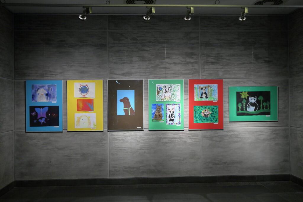 Na fotografii widać dwanaście dziecięcych prac o różnej tematyce: misie, koty, psy, motyle i portret.