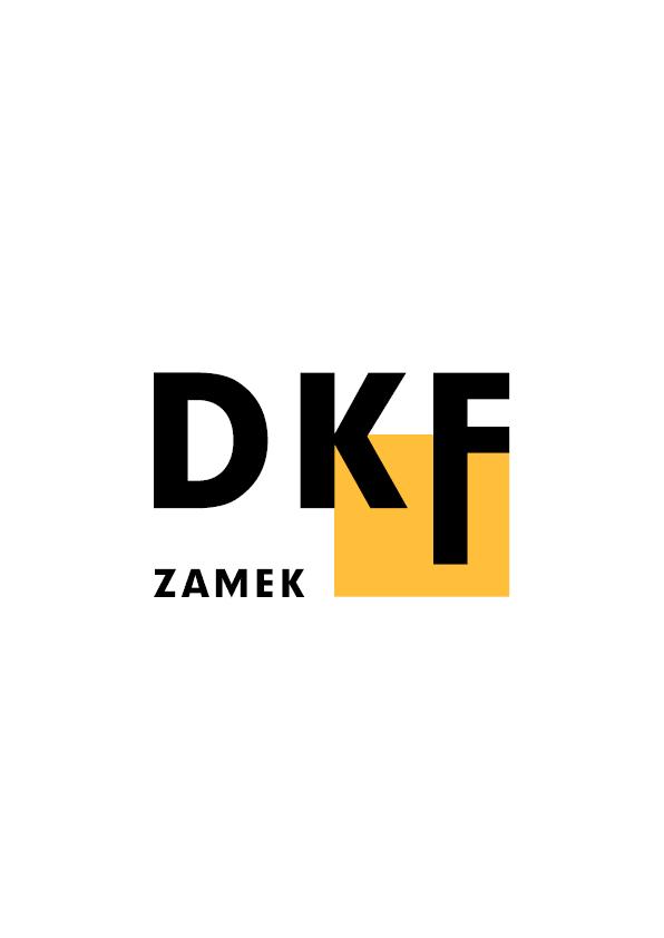 Logotyp DKF Zamek. Duże czarne litery układają nazwę DKF. Litera F jest wydłużona i jest częścią żółtego kwadratu w tle. Po lewej stronie na dole napis ZAMEK.